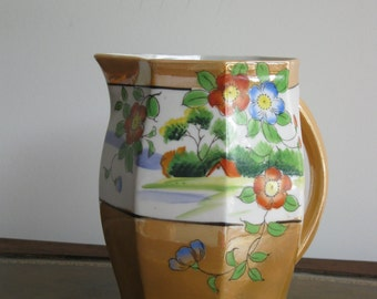 Lusterware pitcher , hand-painted , House by the Lake