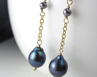 Pear Pearl Earrings in 14k Gold Fill