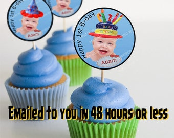 Cupcake Toppers Birthday  PRINTABLE, Customizable with name and photography. Digital File. 6 Styles included.