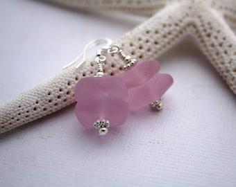Pink Sea Glass Earrings, Seaglass Earrings, Beach Glass Earrings, Sea Glass Jewelry, Seaglass Jewely, Bridal Beach Wedding Ocean Jewelry 090