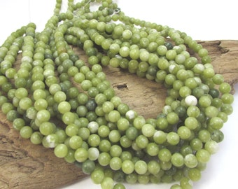 Green Serpentine Beads, Natural Green 6mm Round Beads, 16 inch Strand, 6mm Green Beads, Beading Supplies, Item 932pm