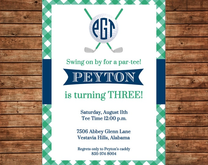 Boy Invitation Monogram Golf Ball Gingham Preppy Birthday Party - Can personalize colors /wording - Printable File or Printed Cards