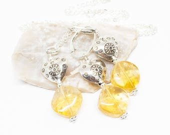 Citrine Gemstone, Sterling Silver Pendant Necklace and Dangle Earrings Set, Honey Yellow Jewelry Set, Free Shipping, November Stone, S18029