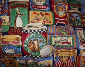 Vintage Tin Can Fabric Collage OOP Fabric Sold by the half yard