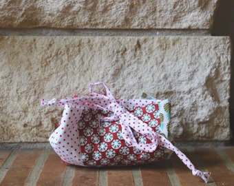 Purse in red and white polka dot fabric, pineapple print purse, Toiletry Kit