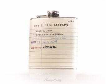 Jane Austen Public Library Card  - 6oz Hip Flask