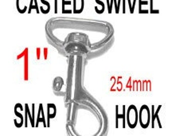 """10 PIECES - 1"""" - Casted Swivel Snap Lobster Claw Hook, Purse Strap Clip - Nickel Plate or Antique Brass"""