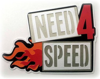 need for speed title  premade paper piecing 3d die cut by my tear bears kira