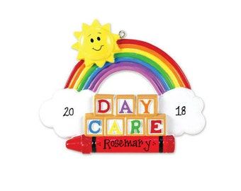 Daycare Personalized Christmas Ornament / Toddler and Child / Sun, Rainbow, Blocks, Crayon / Day Care / Hand Personalized