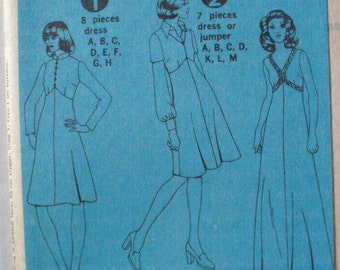 1970's Dress, Evening Dress or Jumper Sewing Pattern - Simplicity 6558 - Size 12, Bust 34, Uncut - NO ENVELOPE