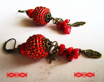 Ethnic beaded earrings bead woven red bronze charms