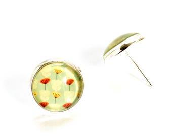 Mint flowers earrings, Poppy Earrings, Poppy Jewelry, Flower Earrings, Flower Jewelry, Glass Stud Earrings, Flower Earrings Studs