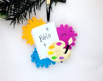 Artist Personalized Christmas Ornament / Painter Christmas Ornament / Artist Ornament / Paint Palette, Paintbrush and Canvas