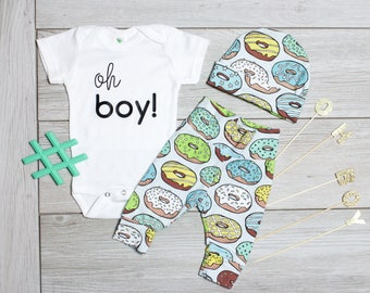 Donut Gender Reveal, Doughnut Coming Home Outfit Boy.  Newborn boys doughnut take home outfit, donut craving, it's a boy announcement