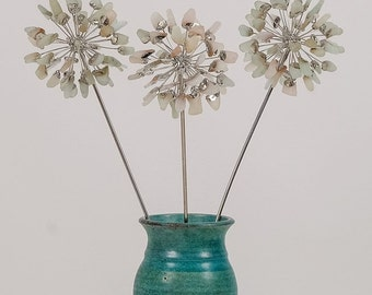 3 White Sea Glass Allium Flowers, Metal Flower, Stained Glass