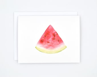 Blank Greeting Card - Watercolor Notecard - Watercolor Stationary - Watermelon Illustration - Blank Notecard Set - Watermelon Notecard