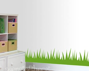 Nursery Wall Decal - Grass room border vinyl decal - Children decal -  decal border nursery - grass decal