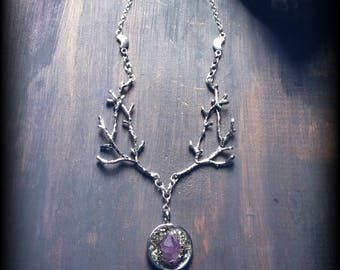 Raw Amethyst and Pyrite Necklace with Crescent Moon and Tree Branch Design, Hypoallergenic Nature Inspired Witchy Jewelry