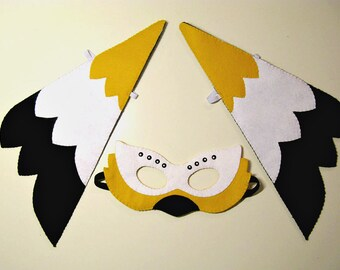 Bird mask wings set Black White Yellow felt for kids handmade childrens costume accessory Dress up play Theatre roleplay Photo prop