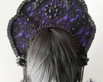 Elegant gothic ornamental kokoshnik-gothic headpiece-Wgt-Gothic headpiece-blck and purple lace headpiece