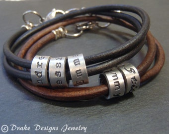 personalized mens gift ideas .mens leather bracelet men's or women's mom or dad gift mens bracelet personalized