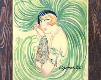 Gesmar Mistinguett Green Vintage Art, Clothing Ad, Fashion Art, Gesmar Art,Vintage Art,Vintage Ad, Giclee Art Print, Fine Art Reproduction