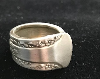 Handcrafted vintage flatware/silverware ring size 7 1/2