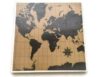 World Map Tile Trivet World Map Kitchen Decor Travel Lover Gift Ceramic Tile Hot Plate Unique Gift Party Decor Heat Resistant