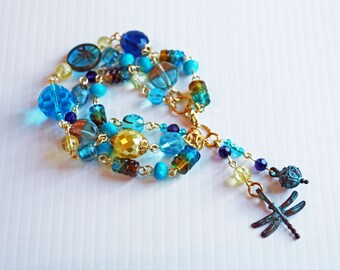 Take Flight Bohemian Bracelet, Multi-Strand Bracelet, Shabby Chic Bracelet, Art Jewellery, Charm Bracelet, Colourful Bracelet
