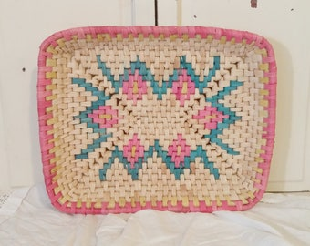 Vintage Woven Basket in Pink and Blue