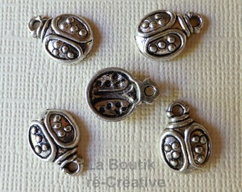 Lot 8 Ladybug insect 19mm silver plated charms