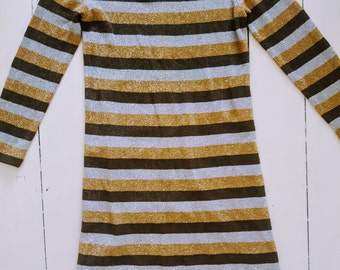 lurex silver/gold/brown sixties vintage dress small