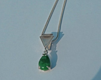 Emerald Necklace - Pear-Shaped Natural Emerald and Silver Necklace - May Birthstone Necklace