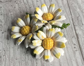Vintage Brooch Enameled Daisies Three Daisies Brooch Pin 1950s Retro Jewelry