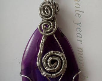 Purple agate stone wire wrapped pendant