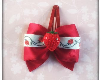 Strawberry hair clip bow