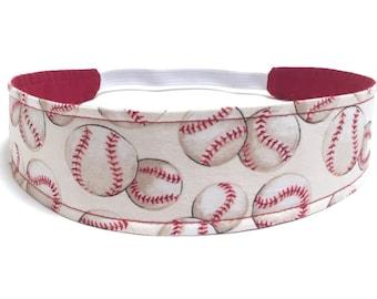 Girls Baseball Headband, Child Headband, Children's Reversible Headband - Vintage Baseball Headband, Retro Baseballs - BASEBALL