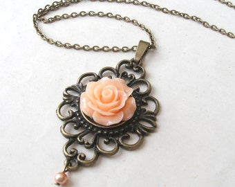 Peach Rose Necklace with Faux Pearl Drop, Flower Necklace, Victorian Necklace, Peach Necklace