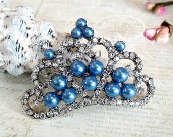 4 pcs ROYAL BLUE Pearls Stunning Tiara Crowned Princess crystal Rhinestone Buttons, Crystal Tiara Bow Embellishment