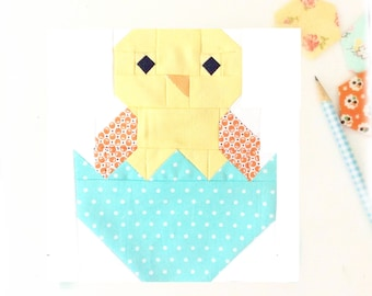 Baby Chick Bird Chicken Quilt Block PDF Instant Download Quilt Pattern 6 inch and 12 inch block instructions