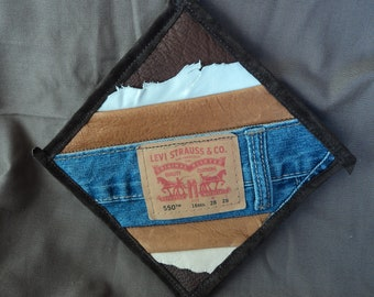 Leather and Denim Potholder