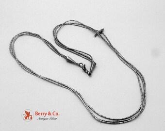 SaLe! sALe! Fetish Sterling Silver Necklace Triple Liquid Silver Chain Bird Pendant