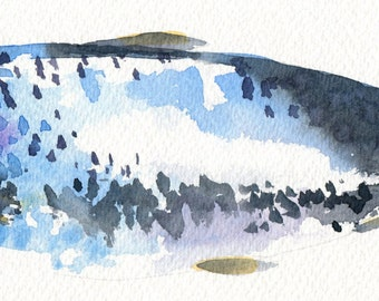 Watercolour Print of a Herring Fish // Gift for Him // Kitchen Art // Affordable Art // Home Sweet Home