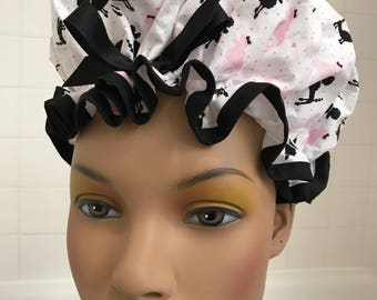 "Shower Cap Women's Waterproof Washable ""Parisian Poodles"""