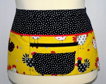 Polka Dot Chickens Lotsa Pockets Apron, Vendor Half Apron with zipper pocket, Teacher- Waitress- Farmer's Market Apron, ready to ship today