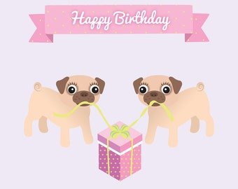 Lesbian Pug Couple (Also perfect for friends!) - Lesbian birthday card - lesbian birthday gift - lesbian girlfriend gift