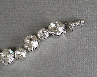 KRAMER Designer Signed Vintage Rhinestone Tennis BRACELET Original TAG, Wedding Bridal Jewelry c.1950's