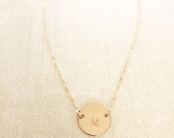 Gold Initial Necklace/ Monogrammed Necklace/ Minimal Necklace/ Personalized Gold Necklace/Dainty 14K Gold Filled Jewelry