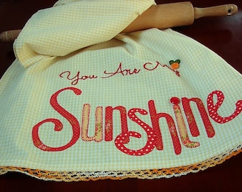 Sunshine Kitchen Towel -  Your are my Sunshine - Kitchen Decor Accessory - Farmhouse Decor - Yellow White Check Summer Towel - Gift for Her