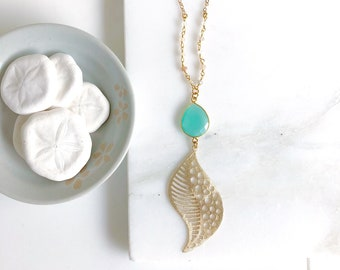 Long Gold Aqua Chalcedony Necklace. Layering Necklace. Aqua Chalcedony Stone Pendant Necklace. Beaded Necklace. Jewelry. Boho Jewelry. Gift